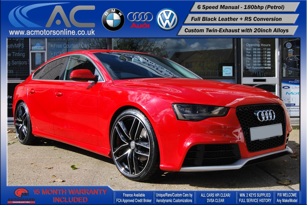 AUDI A5 (RS CONVERSION)  SPORTBACK 2.0 TFSI (2010) - 180BHP